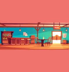 western saloon interior wild west tavern with bar vector image