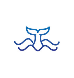 Whale tail and sea marine life thick line blue vector