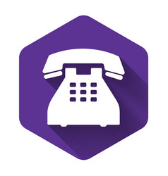 White telephone icon isolated with long shadow vector