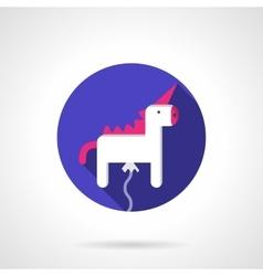 White unicorn balloon round flat icon vector