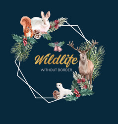 Winter animal wreath design with rabbit squirrel vector