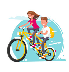 young couple on a tandem bike vector image