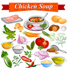 ingredient for indian chicken soup recipe with vector image vector image