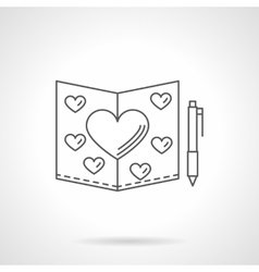 Valentines Day card flat line icon vector image