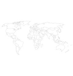 World map with country borders thin white outline vector image world map with smoothed country borders vector image gumiabroncs Image collections