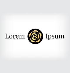 black circle with gold rose logo vector image