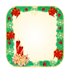 Button square Christmas Spruce with candlestick vector image vector image
