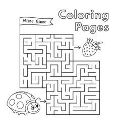 cartoon ladybug maze game vector image