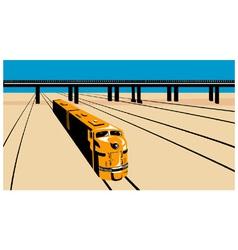 Diesel Train High Angle Retro vector image vector image
