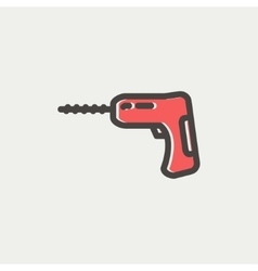 Hammer drill thin line icon vector image