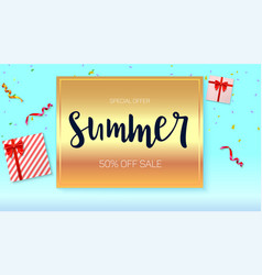 Summer sale ad banner on bright golden background vector