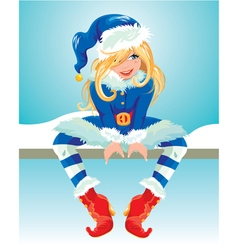 xmas girl blue 380 vector image vector image