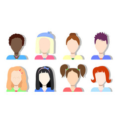 faceless avatar icons girls and women vector image vector image