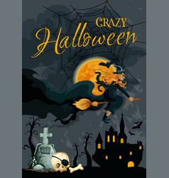 halloween witch night cemetery poster vector image