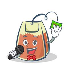 Karaoke tea bag character cartoon art vector