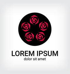 rose bonquet logo design template vector image
