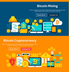 Bitcoin cryptocurrency website banners vector