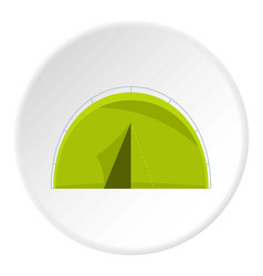 Green touristic camping tent icon circle vector