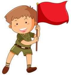 little boy with red flag vector image vector image