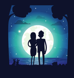 silhouette of man and woman vector image