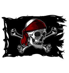Skull and bones on a pirate flag vector