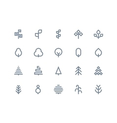 Tree icons Line series vector image