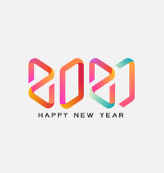 2021 calligraphy with colorful gradient vector image