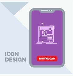 3d dimensional machine printer printing line icon vector