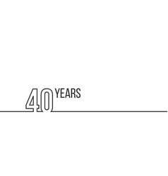 40 years anniversary or birthday linear outline vector image