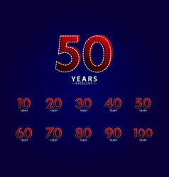 50 years excellent anniversary celebration red vector