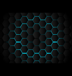 Abstract black hexagon pattern on light blue vector