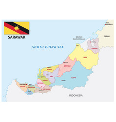 Administrative map sarawak malaysia vector