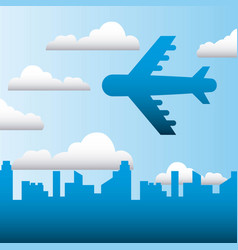 Airplane flying in the city sky family protection vector