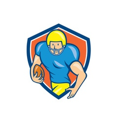 American Football Running Back Shield Cartoon vector image