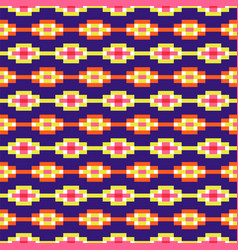 Aztec geometric seamless blue pattern pixel blocks vector