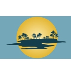 Beautiful scenery islands silhouette vector