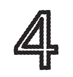 Black and white number four made from rope vector