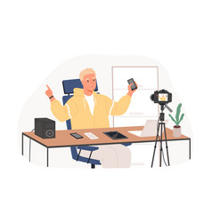 blogger recording video review new released vector image