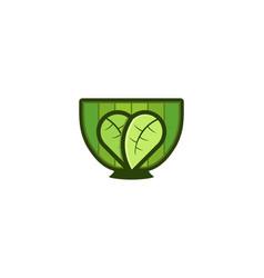 bowl leaf japanese food logo designs inspiration vector image