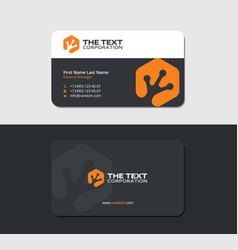 Business card with lizard step in orange color vector