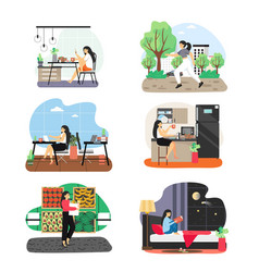 Business woman daily life scene set flat vector