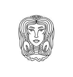 cancer girl portrait zodiac sign for adult vector image