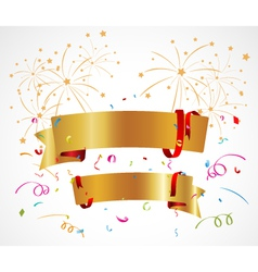 Celebration background with ribbon and confetti vector