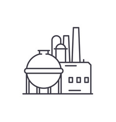 chemical factory line icon concept chemical vector image