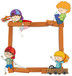 children on wooden banner vector image