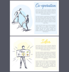 co-operation and idea set vector image