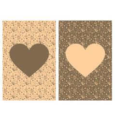 Coffee doodles background with heart shape inside vector