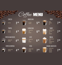 coffee drinks menu price list template vector image