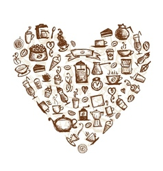 Coffee time heart shape for your design vector image