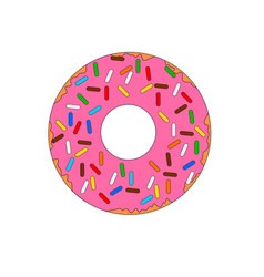 Colorful fast food doughnut icon vector